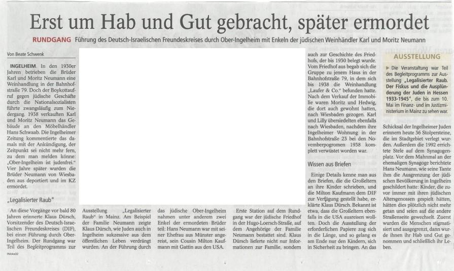 Ausschnitt aus der AZ Ingelheim vom 19. Mai 2016. Wegen der Urhbeberrechte wurde das verwendete Archivfoto ausgeschnitten.